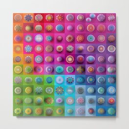 Colourful collection of hand painted mandala stones Metal Print