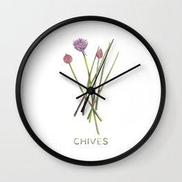 Watercolor Chives Illustration Wall Clock