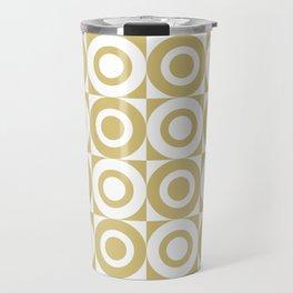 Mid Century Square and Circle Pattern 541 Gold Travel Mug