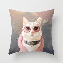 Fashion Portrait Cat Throw Pillow