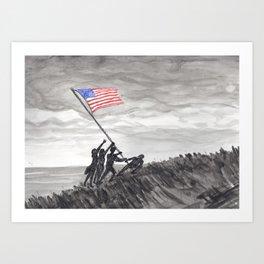 Raising the flag at Iwo Jima Art Print