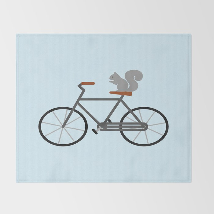 Squirrel Riding Bike Throw Blanket By Eviltalkingham Society40 Enchanting Bicycle Throw Blanket
