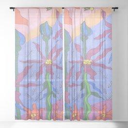 Blue Bohemian Garden Art Sheer Curtain