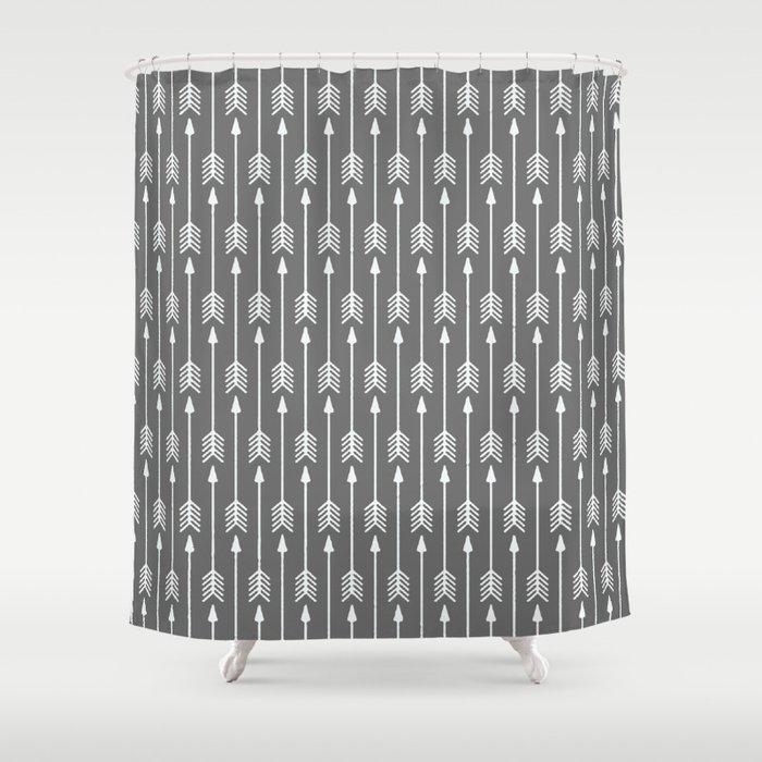 Grey Arrow Shower Curtain