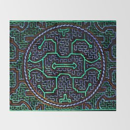 Song to protect the home - Traditional Shipibo Art - Indigenous Ayahuasca Patterns Throw Blanket