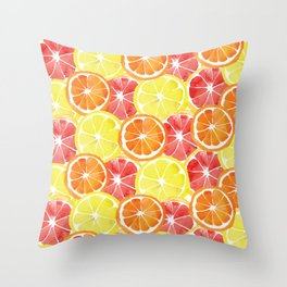 Grapefruit Lemon Orange Pattern Throw Pillow