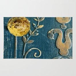 Original Art - A Piece of Versailles Blue & Gold Gilding Art Block Rug