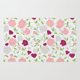 Positively Peonies Floral Pattern Rug