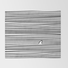 Minimal Line Drawing Simple Unique Shark Fin Gift Throw Blanket