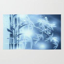 Bambuszweige - blau coloriert Rug