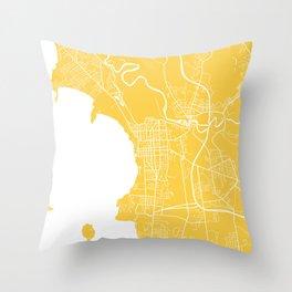 Burlington map yellow Throw Pillow