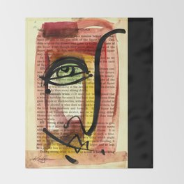 """Funky Face Abstract, """"I See 35"""" by Kathy morton Stanion Throw Blanket"""