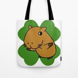 Capybara On 4 Leaf Clover- St. Patricks Day Pun Tote Bag