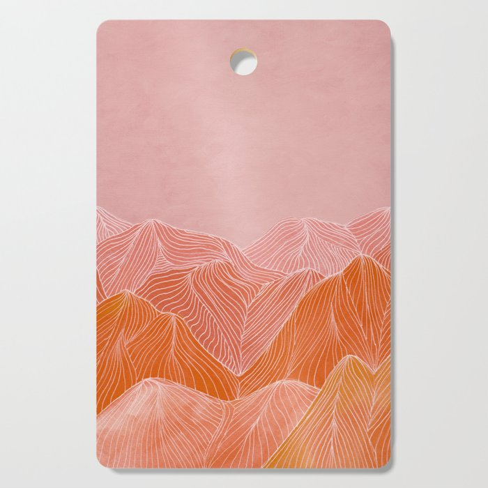 Lines in the mountains - pink II Cutting Board