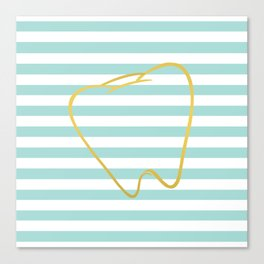 Aqua Stripes with Gold Tooth Canvas Print