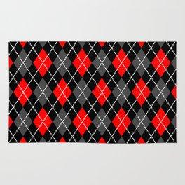Black & Red Argyle Rug
