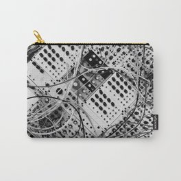 analog synthesizer  - diagonal black and white illustration Carry-All Pouch