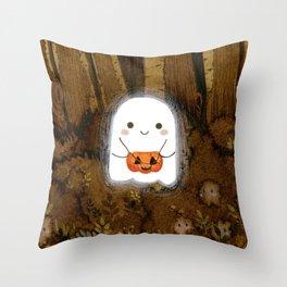 Little ghost and pumpkin Throw Pillow