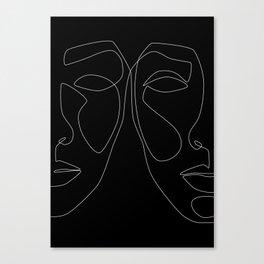 White line couple Canvas Print