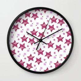 Twinkle little purple stars Wall Clock