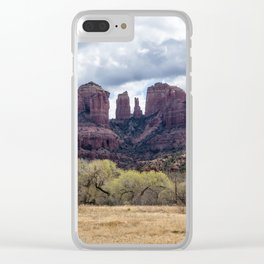 Cathedral Rock from a Field Clear iPhone Case