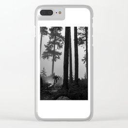 Mountain Biker in the Misty Bike Park Clear iPhone Case