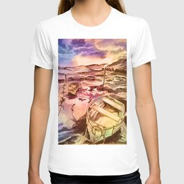 Pen and Ink Boats - soft tones T-shirt