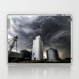 Skyscraper - Storm Over Grain Elevator in Kansas Town Laptop & iPad Skin