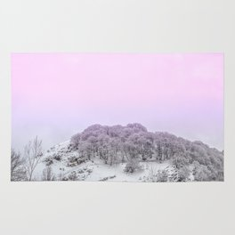 Pink Light on the trees in the forest Rug