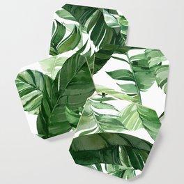 Green leaf watercolor pattern Coaster