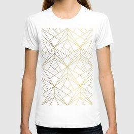 Golden Diagonal lines Pattern T-shirt