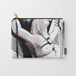 The beauty of tight binding, Naked body tied up to a pole, Nude art, Fine-art shibari rope bondage Carry-All Pouch