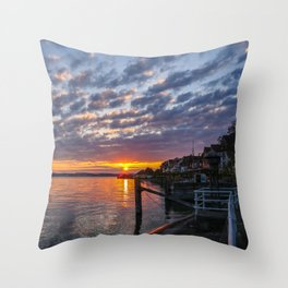 sunset at Meersburg, Bodensee Throw Pillow