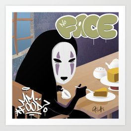 No Face Mm.. Food (MF Doom + Spirited Away) Art Print