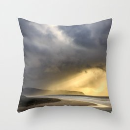 Sunlight and Storms Over Cape Lookout, Oregon Throw Pillow