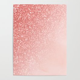 She Sparkles Deep Rose Gold Pastel Pink Luxe Geometric Poster