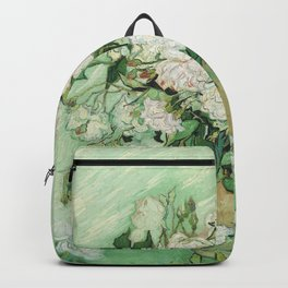 Vase with Pink Roses by Vincent van Gogh Backpack