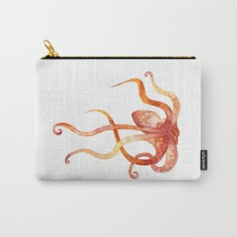 Watercolour Octopus - Red and Orange Carry-All Pouch