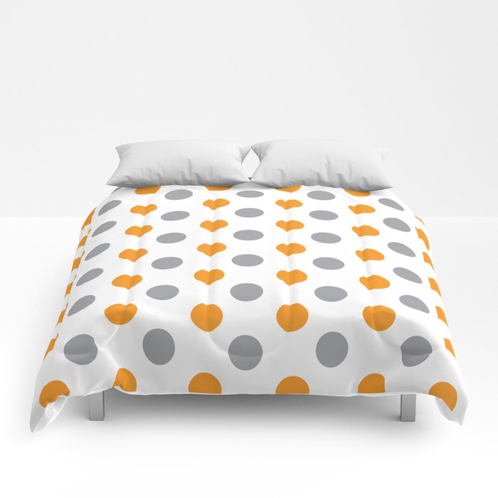 YELLOW AND GRAY DOTS Abstract Art Comforters