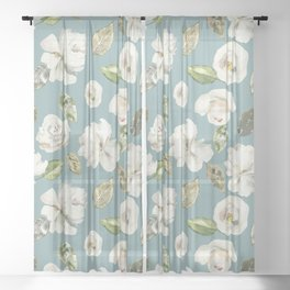 White Roses with Duck Egg Blue Sheer Curtain