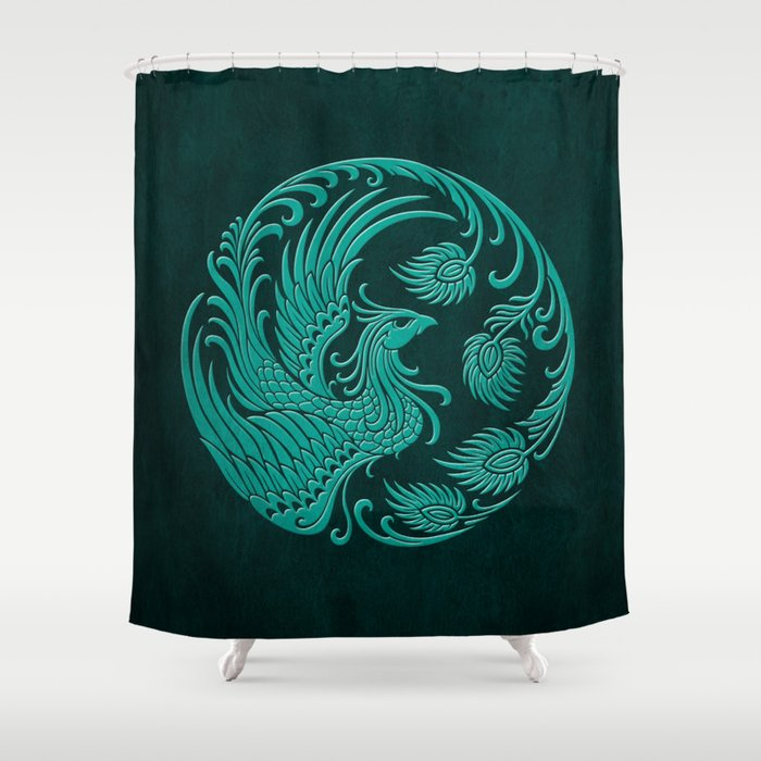 Traditional Teal Blue Chinese Phoenix Circle Shower Curtain by ...