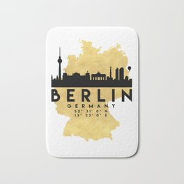 BERLIN GERMANY SILHOUETTE SKYLINE MAP ART Bath Mat