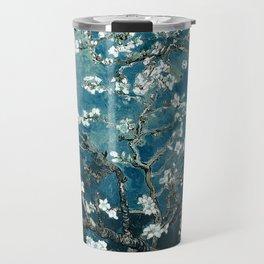 Van Gogh Almond Blossoms : Dark Teal Travel Mug