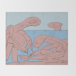 Picasso - On the beach Throw Blanket