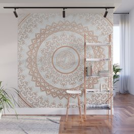 Mandala - rose gold and white marble Wall Mural