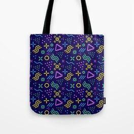 Retro 80s Shapes Pattern Tote Bag