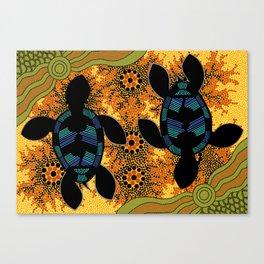 Sea Turtles - Authentic Aboriginal Art Canvas Print