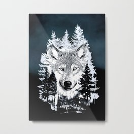 Forest Wolf Art Metal Print