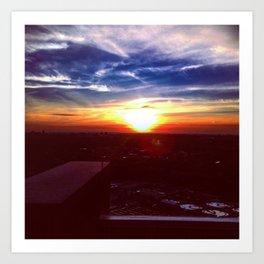 Sunset Rooftop Art Print