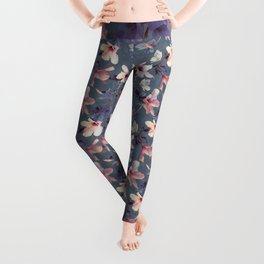 Butterflies and Hibiscus Flowers - a painted pattern Leggings